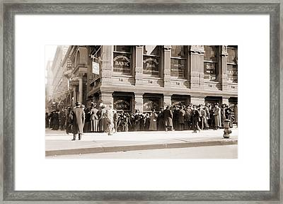 A Long Line Of Depositors Line Framed Print
