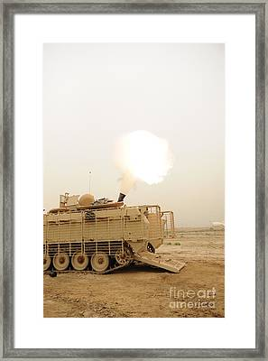 A M120 Mortar System Is Fired Framed Print by Stocktrek Images