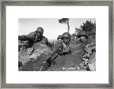 A Machine Gun Crew In Firing Position Framed Print by Stocktrek Images