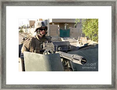 A Machine Gunner Mans His Mk-19 Framed Print