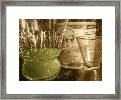 A Macro Sepia And Green Of Absinthe Framed Print by Jennifer Holcombe
