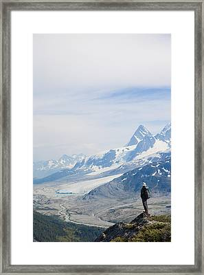 A Man Admires A Glacier Gouged Valley Framed Print