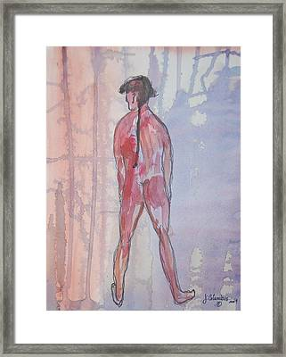 A Man In The Garden Framed Print by Janna Columbus