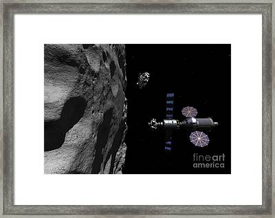 A Manned Maneuvering Vehicle Descends Framed Print by Walter Myers