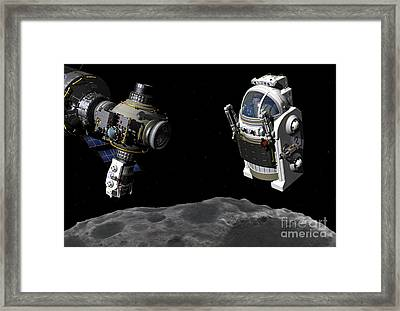 A Manned Maneuvering Vehicle Prepares Framed Print by Walter Myers