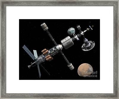 A Manned Mars Cycler Space Station Framed Print by Walter Myers
