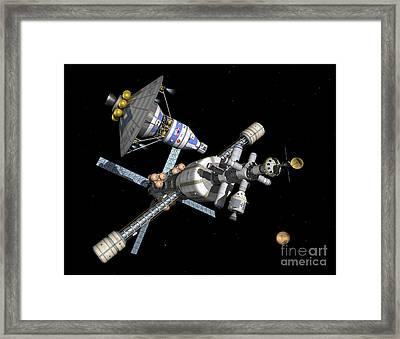 A Manned Mars Landerreturn Vehicle Framed Print by Walter Myers