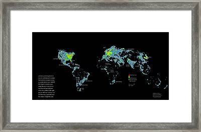 A Map Of Nighttime Earth Created Framed Print