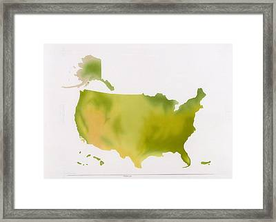 A Map Of The National Park System Framed Print