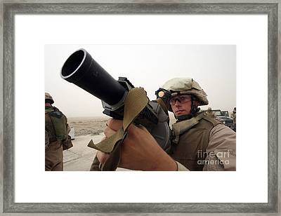 A Marine Aims In With A M-32 Multiple Framed Print by Stocktrek Images
