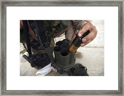 A Marine Loads 40 Mm Grenades Framed Print