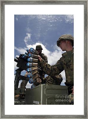 A Marine Loads An Mk-19 40 Mm Grenade Framed Print