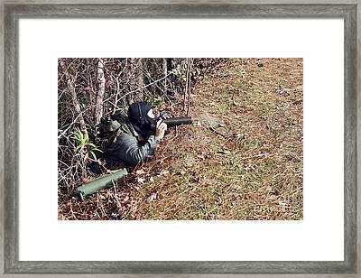 A Marksman Observer Relays Intelligence Framed Print by Stocktrek Images