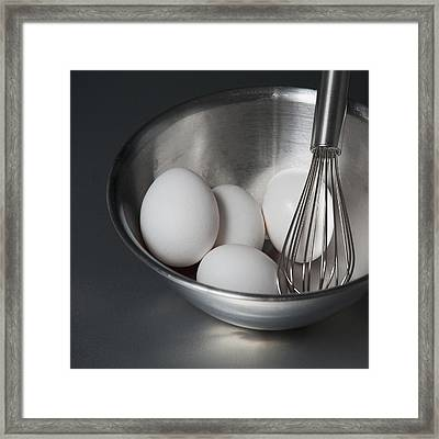 A Metal Bowl With A Balloon Whisk Framed Print