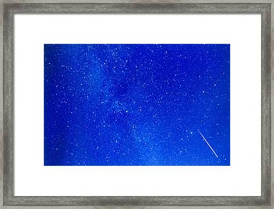 A Meteor Track From The Perseid Meteor Shower Framed Print