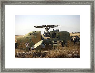 A Mi-35 Attack Helicopter At Kunduz Air Framed Print by Terry Moore