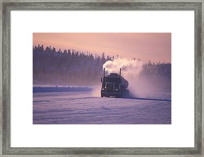 A Mine Transport Truck Drives Framed Print