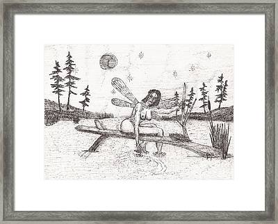 A Moment With The Moon... - Sketch Framed Print by Robert Meszaros