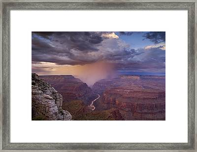 A Monsoon Storm In The Grand Canyon Framed Print by David Edwards