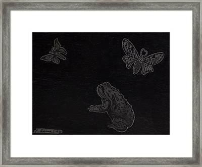 Framed Print featuring the drawing A Moonless Summers Night by Gerald Strine