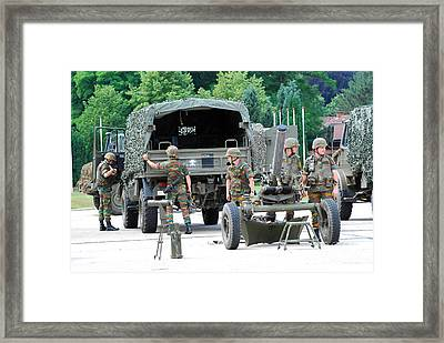 A Mortar Section Of The Belgian Army Framed Print by Luc De Jaeger