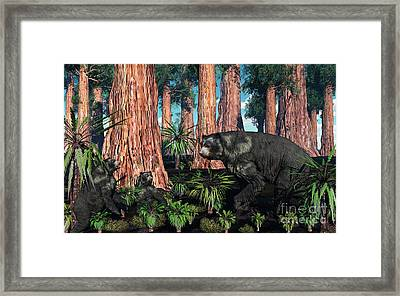 A Mother Arctodus Bear With Her Twin Framed Print