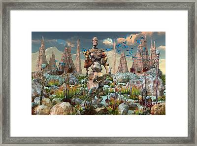 A Mysterious Stone Android Stands Alone Framed Print by Mark Stevenson