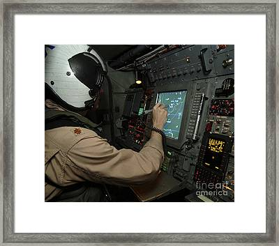 A Naval Flight Officer Tracks Aircraft Framed Print