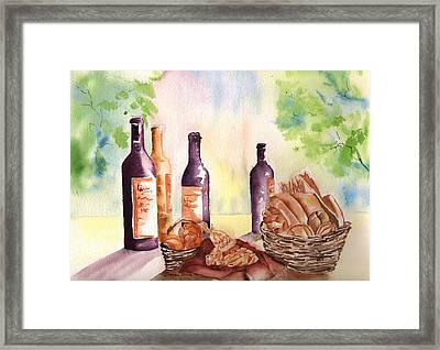 A Nice Bread And Wine Selection Framed Print by Sharon Mick
