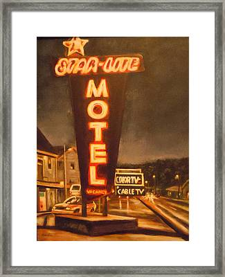 A Night At The Star-lite Motel Framed Print by James Guentner