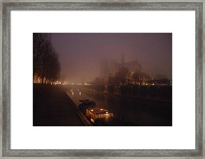 A Night View Across The Seine Towards Framed Print by James L. Stanfield