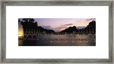 A Night View Of Memorial Plaza Framed Print