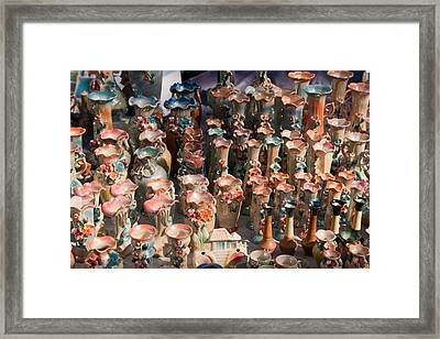 Framed Print featuring the photograph A Number Of Clay Vases And Figurines At The Surajkund Mela by Ashish Agarwal