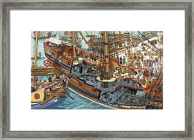 A Painting Showing Merchandise Framed Print by Roger Morris