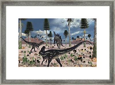 A Pair Of Allosaurus Dinosaurs Confront Framed Print by Mark Stevenson