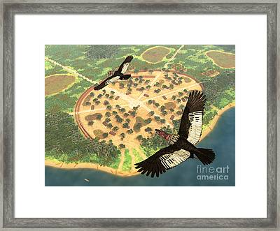 A Pair Of Andean Condors Fly Over An Framed Print by Walter Myers