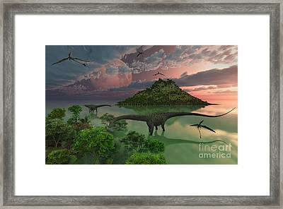 A Pair Of Diplodocus Dinosaurs Framed Print by Mark Stevenson