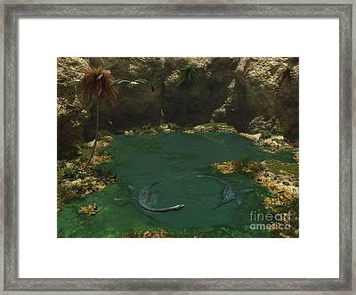 A Pair Of Elasmosaurus Engage Framed Print by Walter Myers