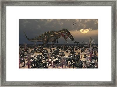 A Pair Of Nanotyrannus Amongst An Framed Print by Mark Stevenson