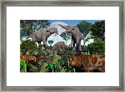 A Pair Of Sabre-toothed Tigers Stalking Framed Print