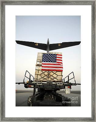 A Pallet Containing Humanitarian Relief Framed Print by Stocktrek Images