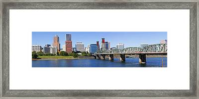 A Panorama Of Downtown Portland Oregon Hawthorne Bridge. Framed Print by Gino Rigucci