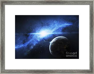 A Paradise World With A Huge City Looks Framed Print by Justin Kelly