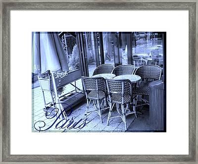 A Parisian Sidewalk Cafe In Blue Framed Print by Jennifer Holcombe