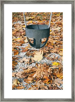 A Park In The City Fallen Autumn Leaves Framed Print