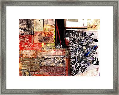 A Pattern Of Table Settings Framed Print by Jann Sage
