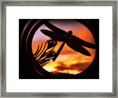 Framed Print featuring the photograph A Peaceful Dragonfly Sunset by Cindy Wright