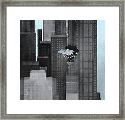 A Person On A Skyscraper Under A Storm Cloud Getting Rained On Framed Print