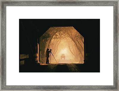 A Photographer Sets Up His Camera Framed Print by Richard Nowitz