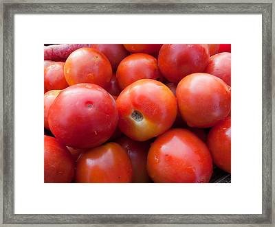 A Pile Of Luscious Bright Red Tomatoes Framed Print by Ashish Agarwal
